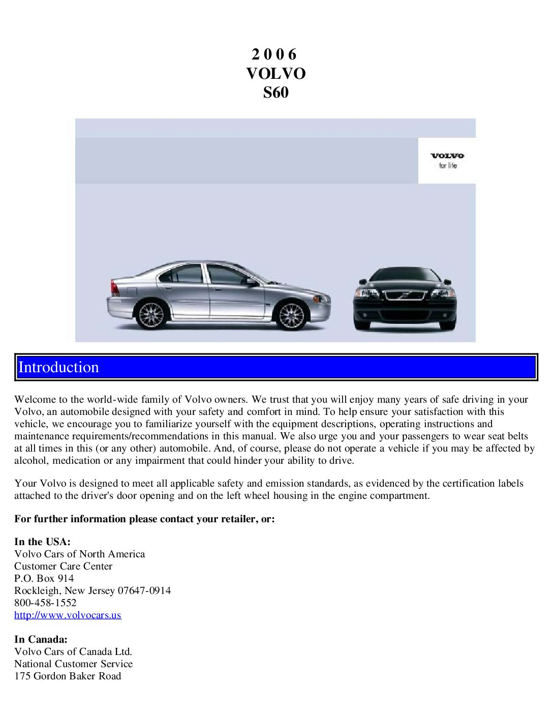 2004 volvo s60 owners manual